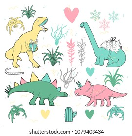 Merry Christmas dinosaurs and tillandsia vector cute illustration. Holiday hand drawn dinos image for you project.