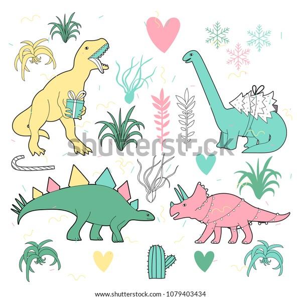 Vector De Stock Libre De Regalias Sobre Buenos Dinosaurios Navidenos Y Tillandsia Vectorial1079403434 El mundo de los dinosaurios explicado para niños con imágenes y video. https www shutterstock com es image vector merry christmas dinosaurs tillandsia vector cute 1079403434
