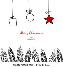 Merry christmas doodle card simple frame gift. Fir tree hand drawn black white vector holiday graphic design.