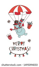 Merry Christmas doodle greeting card background. Santa Claus with deers and snowman on parachute, decoration and presents. Vector illustration doodle style for your wallpaper or textile design