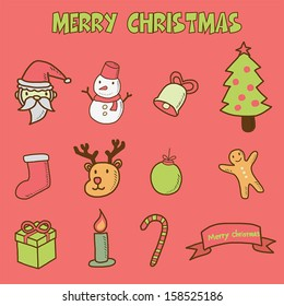 merry christmas doodle icons, vector hand drawing style