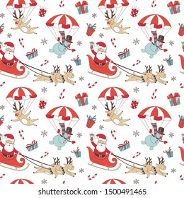 Merry Christmas doodle seamless pattern background. Santa Claus with deers and snowman on parachute, decoration and presents. Vector illustration doodle style for your wallpaper or textile design