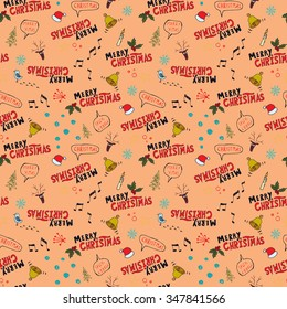 Merry Christmas doodle seamless pattern