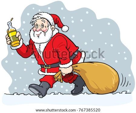 merry christmas drunk santa claus holding bottle - Drunk Christmas