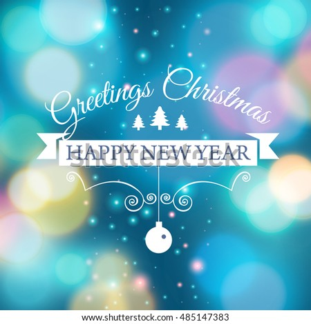 Merry Christmas Ecard Template Vector Illustration Stock Vector