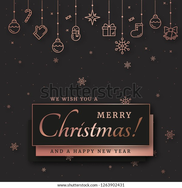 Merry Christmas Elegant Design Background Rose Stock Vector Royalty Free 1263902431