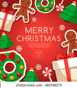 Merry Christmas Elements : Card Template : Vector Illustration