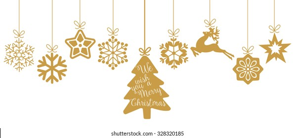 Merry Christmas. Christmas elements hanging line gold isolated background.