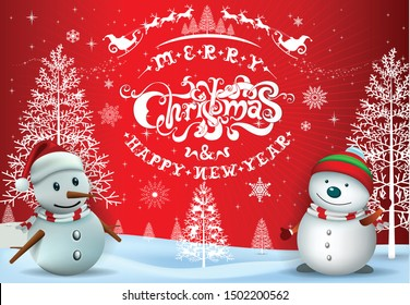 Merry Christmas Everyone greeting card, Vintage Background With red sky and snow. Merry Christmas and happy new year text design, vector illustration.