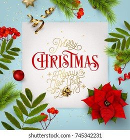 Merry Christmas Everyone, Vintage Background With Typography and Elements