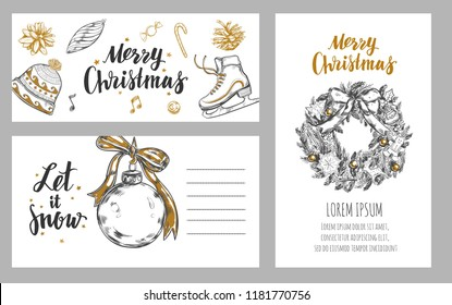 Merry Christmas festive Winter cards . Design template includes different Vector hand drawn illustrations and Brushpen Modern Calligraphy.