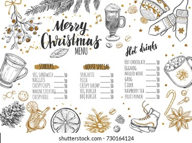 Merry Christmas festive Winter Menu. Design template includes different Vector hand drawn illustrations and Brushpen Modern Calligraphy. Beverages, food and christmas elements.