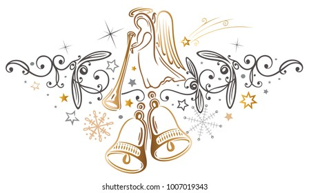 Merry Christmas with filigree angel and bells.