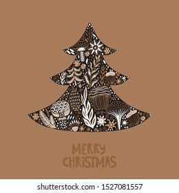 Merry Christmas fir tree, greeting card with patterned Christmas Tree. Fir Tree made of flowers and leaf.