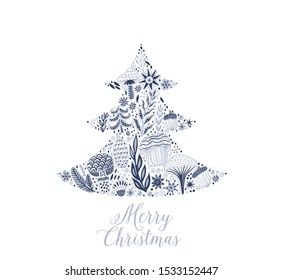 Merry Christmas fir tree, greeting card with patterned Christmas Tree. Fir Tree made of flowers and leaf