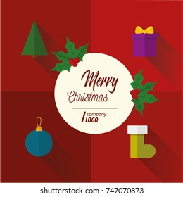 Merry christmas, flat design with long shadow card on red background.