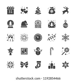Merry Christmas flat glyph icons. Pine tree, snowflake, bag of presents, party invitation, snowman, lights garlands decoration vector illustrations. Solid silhouette signs pixel perfect 48x48.