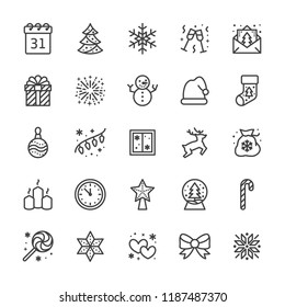 Merry Christmas flat line icons. Pine tree, snowflake, bag of presents, party invitation, snowman, lights garlands decoration vector illustrations. Thin signs Pixel perfect 48x48. Editable Strokes.
