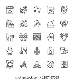 Merry Christmas flat line icons. Fir branch, snowflakes, presents, letter to santa claus, lights garlands decoration vector illustrations. Thin signs xmas sale. Pixel perfect 48x48. Editable Strokes.