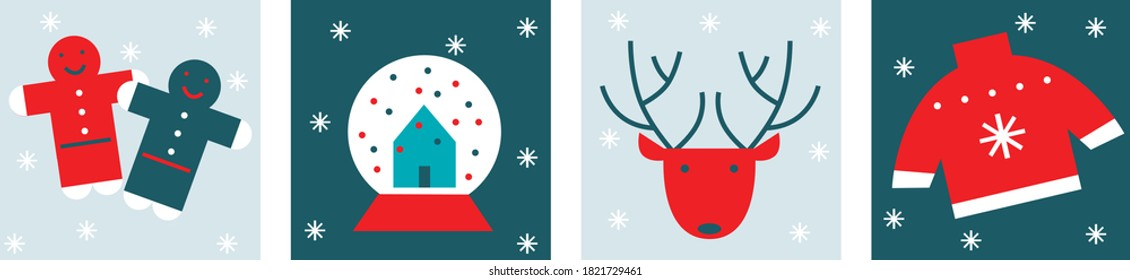 Merry Christmas flat vector banners set. Gingerbread,  reindeer, present, snow ball,  tinsel, ornament, candle. Scandinavian design. Cartoon New Year illustration. Christmas eve. Hugge conсepr art.