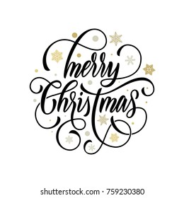 Merry Christmas flourish hand drawn calligraphy lettering on golden snowflake ornament pattern background. Vector swash line typography for greeting card design of festive quote Christmas Holiday text