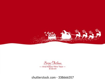 Merry Christmas - Flying White Santa Claus with Reindeer on Red Background Vector Greeting Card, Christmas Card. Holiday Season Backdrop Template Illustration. Christmas and New Years Eve Card