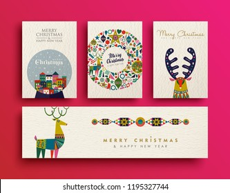 Merry Christmas folk art greeting card set. Template collection of Scandinavian style reindeer with traditional geometric shapes in festive colors. EPS10 vector.