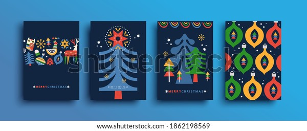 Merry Christmas folk art greeting card set. Colorful nordic style winter pine tree and holiday decoration, geometric shape cartoon for xmas event.