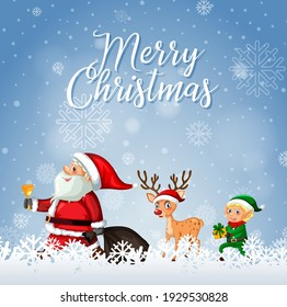 Merry Christmas font with Santa Claus and Reindeer illustration