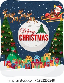 Merry Christmas font with Santa Claus on a sleigh in snow scene illustration