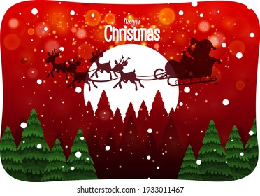 Merry Christmas font with Santa Claus in snow scene illustration