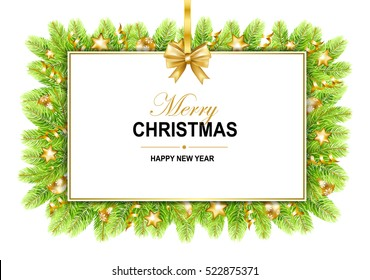Merry Christmas frame with bow, serpentine, stars, balls and fir-tree isolated on white background. Vector illustration.