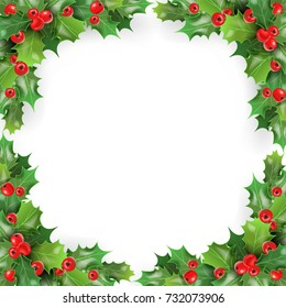 Merry Christmas Frame with Mistletoe, Holly Berries. Winter Holidays Greeting Card Template. Vector illustration