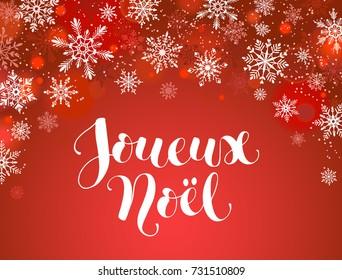 Merry Christmas french greeting card template. Modern winter holidays lettering with snowflakes on red background. Merry Christmas vector illustration with text.