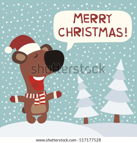 merry christmas funny bear in red hat on background snowflakes in cartoon style greeting - Merry Christmas Funny