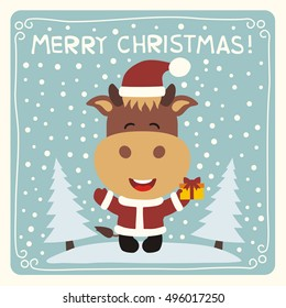 Merry Christmas! Funny cow  with gift on background snow. Card in cartoon style.