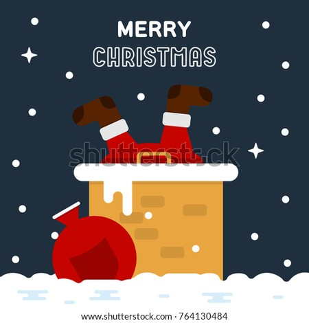 Merry christmas funny greeting card santa stock vector royalty free merry christmas funny greeting card santa claus stuck in the chimney with gift bag m4hsunfo