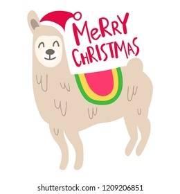 Merry christmas. Funny hand drawn llama. Vector lettering illustration for postcard, t shirt, print, kids wear, stickers, posters design.