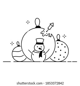 Merry Christmas funny illustration, Christmas composition in cartoon style. Snowman and big Christmas balls flat icon.