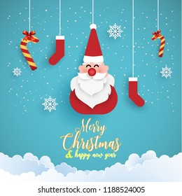 Merry Christmas. funny santa claus with paper art design. beautiful background with simple design.
