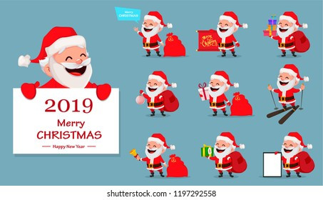 Merry christmas funny santa claus helper stock vector royalty free merry christmas funny santa claus set of ten poses cheerful cartoon character m4hsunfo