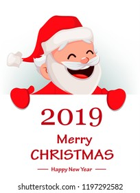 Merry Christmas. Funny Santa Claus. Cheerful cartoon character holding big placard with greetings. Usable for greeting card, banner, poster, flyer, label or tag. Vector illustration.