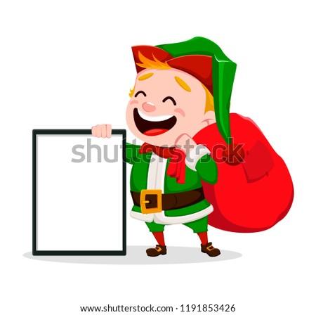 Merry Christmas Funny Santa Claus Helper Cheerful Cute Elf Cartoon Character Holding Blank