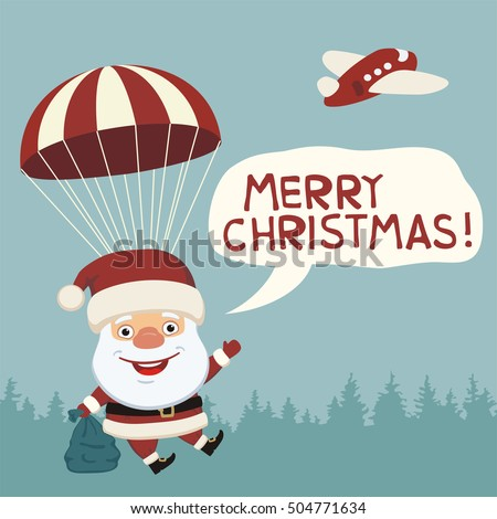 Merry christmas funny santa claus flying stock vector royalty free merry christmas funny santa claus flying on parachute with sack of gifts greeting card m4hsunfo