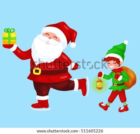 Merry Christmas Funny Santa Claus Gift Stock Vector (Royalty Free ...