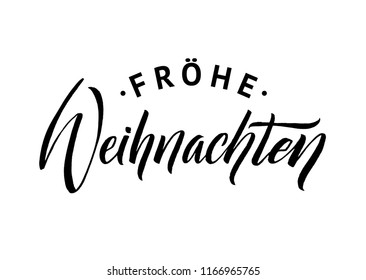 Merry Christmas German Calligraphy. Greeting Card Design on White Background.