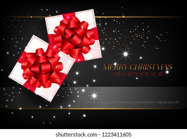 Merry Christmas with gift boxes poster design. Inscription with gift boxes in red bowknots on black background. Can be used for posters, banners, greetings