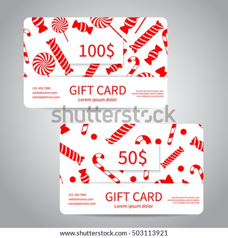 Merry Christmas Gift Card Discount Card Stock Vector (Royalty Free ...