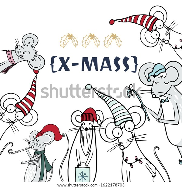 Merry Christmas Gift Card Template Cute Stock Vector Royalty Free 1622178703