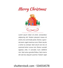 Merry Christmas gift house red banner